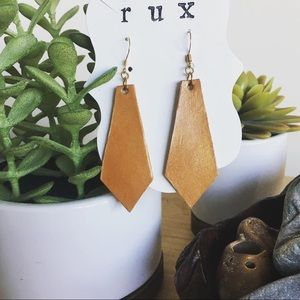 Handmade and hand dyed leather earrings